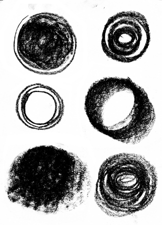 Black wax crayon strokes isolated on white. Hand drawn pastel chalk circle stripes background.  kids hand painting texture design element. Фото со стока