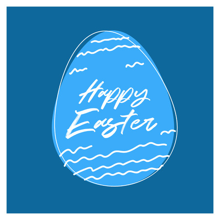Happy Easter egg invitation template on a blue backdrop vector illustration Ilustrace