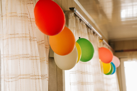colorful balloons in a room on a holiday in the village