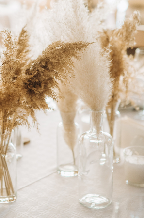 decor flora fluffy daisy pampas torch in glass vases