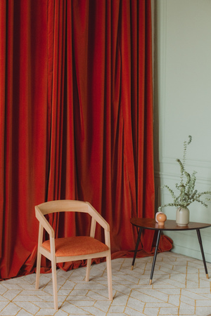 home interior design style curtain chair and table