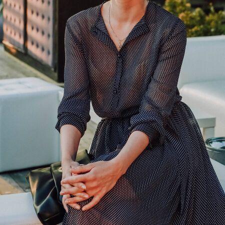 summer dress style lightweight female model sitting trendy conceptual Stock fotó