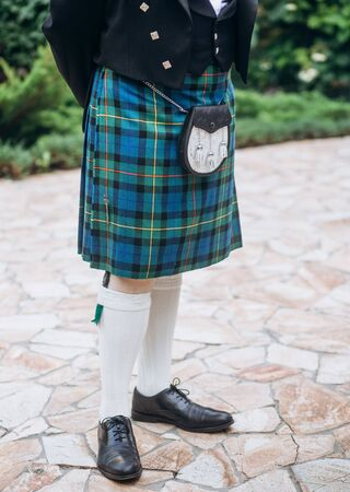 Scottish kilt men traditional vintage clothing and accessories