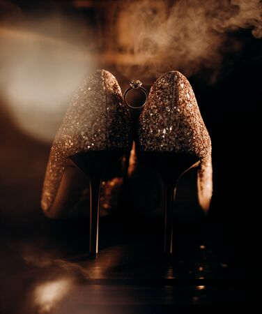 wedding ring with stylish bridesmaid shoes smoke fashion and accessories