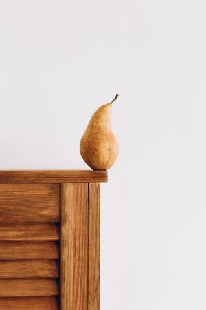 pear variety juicy fruit one yellow on a white background