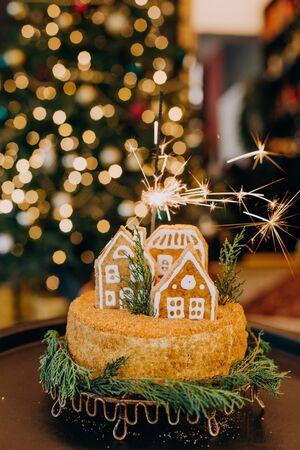 cake dessert festive christmas honey with gingerbread house figure Фото со стока