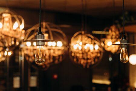 chandelier style design luxury inside lighting bar cafe Фото со стока