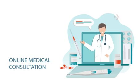 pharmacy online technology navel and consultation no contact vector flat illustration