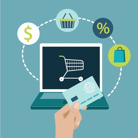 Online shopping on website with laptop Persons Hand holding bank card commerce Vector flat illustration Ilustración de vector