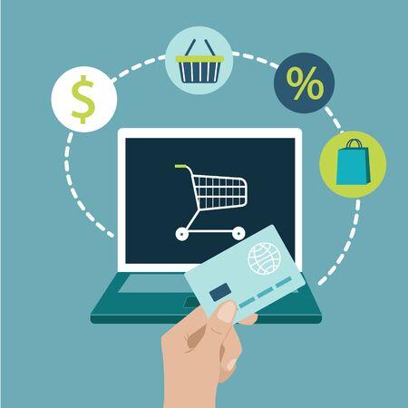 Online shopping on website with laptop Persons Hand holding bank card commerce Vector flat illustration Ilustração Vetorial