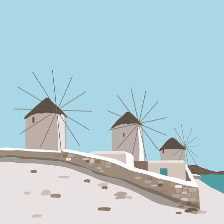 Windmill on blue sky background in Mykonos island landscape Greece travel Ilustracje wektorowe