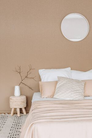bedroom interior design background textile minimalist style beige