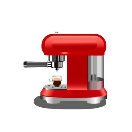 red coffee machine with a cup of dark coffee espresso