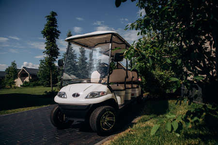 electric car in luxury eco hotel is parked near the house
