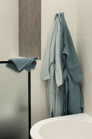 washstand in luxury apartment bathroom and cotton towels stylish interior 版權商用圖片
