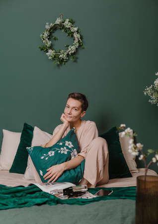 woman in pajamas spring concept home interior green style paris