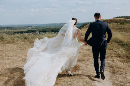 couple in love wedding together outside field path landscape sky veil wind freedom 版權商用圖片