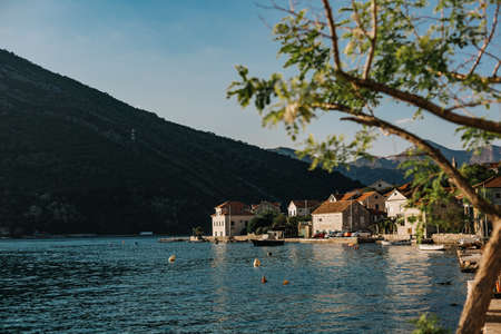 seaside city in the adriatic mountains vegetation and quiet climate
