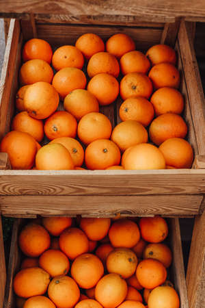 street vending fruit oranges in a box ripe beautifully serving