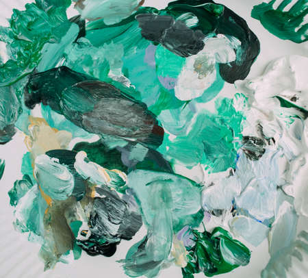 colored paint strokes white green texture painting process