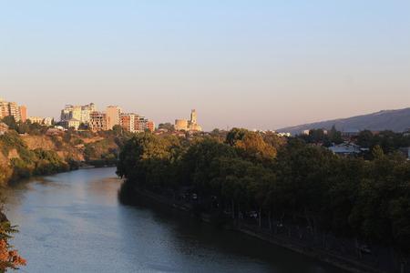 tbilisi: River Mtkvari In Tbilisi, Georgia At Sunset Editorial
