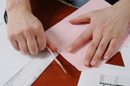 Work with official papers in the office