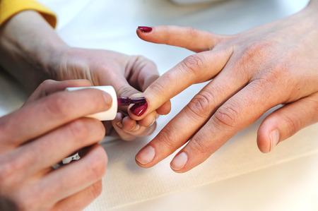 Manicurist is applying claret nail varnish on female fingers.