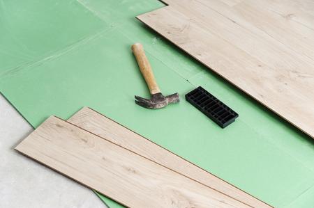 Installing laminate flooring. Tools for floor installation