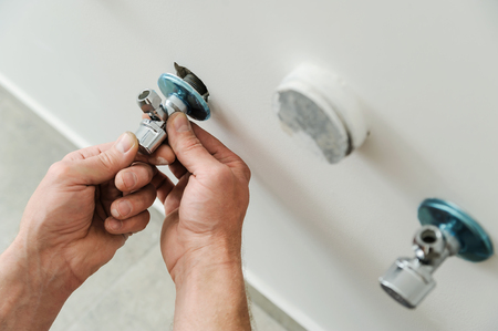 Plumber sets angel valve  for future connection to the tap.