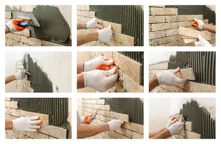 Collage of photos of construction work. Installation of ceramic tile on the wall.