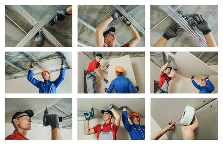 Collage of photos of construction work. Installing drywall ceiling and wall.