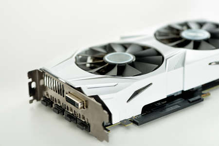 Modern graphics video card with two coolers for the computer.