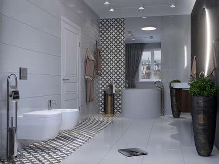 Modern bathroom interior. 3d rendering mockup.