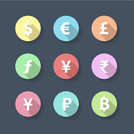 currency symbols: Currency Symbols long shadow icon and flat design