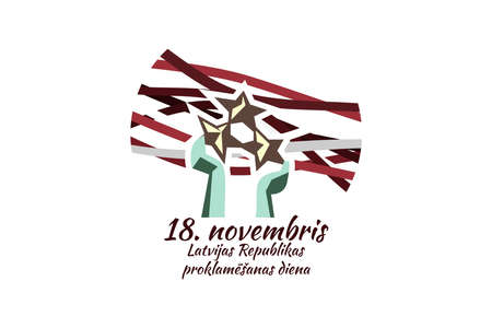 Translation: November 18, Proclamation Day of the Republic of Latvia. Independence day of Latvia vector illustration. Suitable for greeting card, poster and banner.