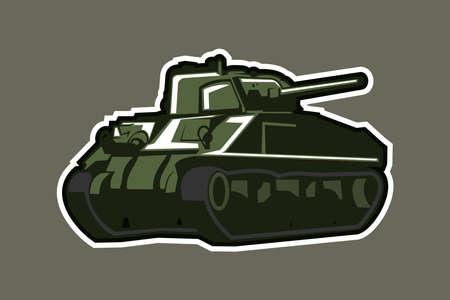 WWII American medium tank vector illustration Иллюстрация