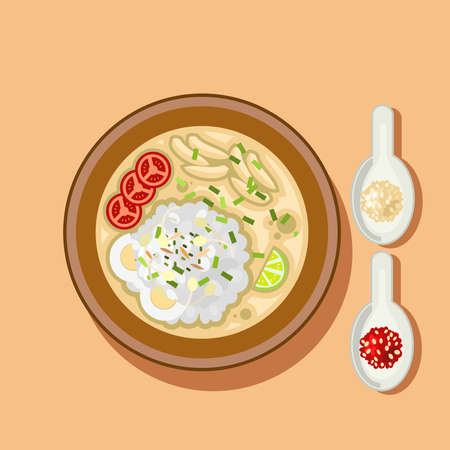 Soto Ayam is a traditional Indonesian soup mainly composed of broth, shredded chicken, lime and vegetables. Soto food icon vector illustration.