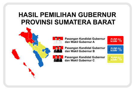 Translation: West Sumatra Governor Election Results, Candidate Pair for Governor and Deputy Governor A, B, C. Results are based on the distribution of votes per district and city with color references