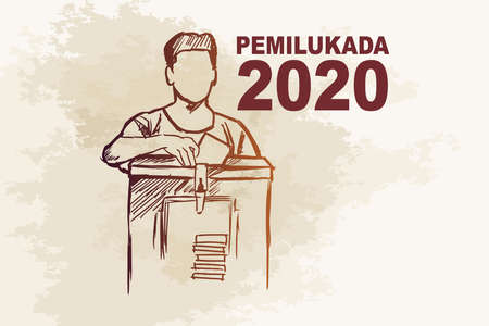 Translation: 2020 Simultaneous local elections. Electing regents, mayors and governors in several regions in Indonesia vector illustration.