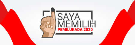 Translation:I'm Voting,  2020 Simultaneous local elections. Electing regents, mayors and governors in several regions in Indonesia vector illustration.