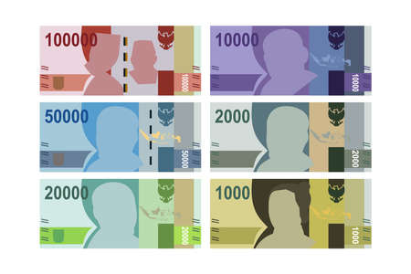Flat Design of Indonesian Rupiah and different values. Isolated Vector illustration
