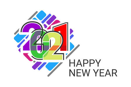 2021 Happy new year greeting banner. Happy New Year 2021 New Year with colorfull vector illustration. Suitable for greeting card, poster and banner.