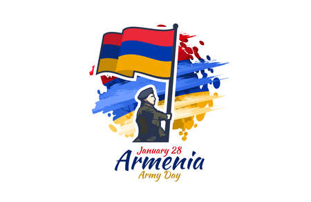 January 28, Army Day of Armenia. vector illustration. Suitable for greeting card, poster and banner.