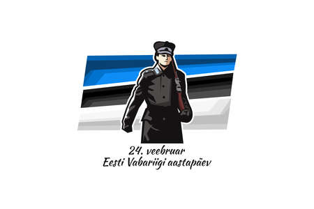 February 24, Independence day of Estonia, with national flower vector illustration. Suitable for greeting card and banner Vektorgrafik