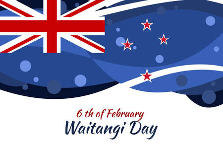 February 6, Happy Waitangi Day (New Zealand National Day) vector illustration. Suitable for greeting card, poster and banner.