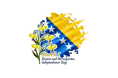 March 1, Independence day of Bosnia and Herzegovina. vector illustration. Suitable for greeting card, poster and banner.