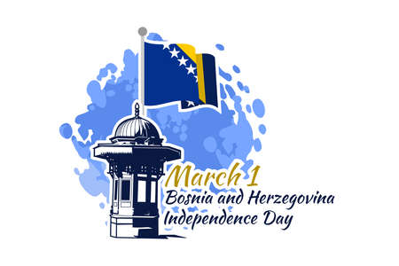 March 1, Independence day of Bosnia and Herzegovina with national landmark vector illustration. Suitable for greeting card, poster and banner. Vector Illustration