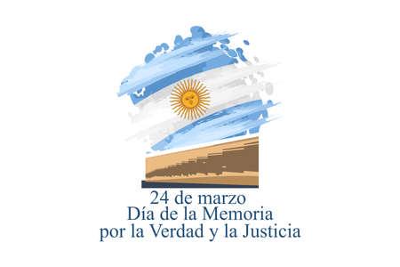 24 de marzo, Día Nacional de la Memoria por la Verdad y la Justicia (translation: March 24, Day of Remembrance for Truth and Justice) vector illustration. Suitable for greeting card and poster.