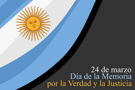 Translation: March 24, Day of Remembrance for Truth and Justice vector illustration. National holiday of Argentina. Suitable for greeting card and poster.