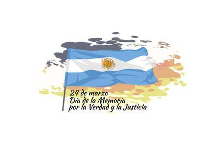 24 de marzo, Día Nacional de la Memoria por la Verdad y la Justicia (translation: March 24, Day of Remembrance for Truth and Justice) vector illustration. Suitable for greeting card and poster. Vecteurs